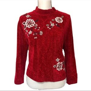Alfred dunner floral embroidered sweater